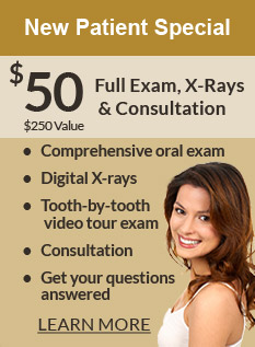 New Patient Special! $50 Full Exam, X-Rays and Consultation (a $250 Value)! Comprehensive oral exam, digital X-rays, tooth-by-tooth video tour exam, consultation, get your questions, answered. Learn more.